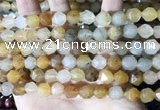 CLJ624 15 inches 8mm faceted nuggets sesame jasper beads