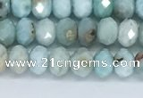 CLR101 15.5 inches 4*6mm faceted rondelle larimar gemstone beads