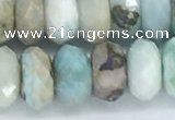 CLR105 15.5 inches 6*10mm faceted rondelle larimar gemstone beads