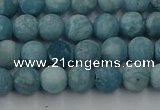 CLR611 15.5 inches 6mm round matte imitation larimar beads