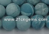 CLR614 15.5 inches 12mm round matte imitation larimar beads
