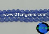 CLU172 15.5 inches 12mm flat round blue luminous stone beads