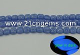 CLU191 15.5 inches 10*10mm square blue luminous stone beads