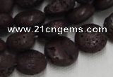 CLV208 15.5 inches 16mm flat round coffee natural lava beads wholesale