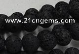 CLV214 15.5 inches 12mm round black natural lava beads wholesale