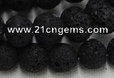 CLV216 15.5 inches 16mm round black natural lava beads wholesale