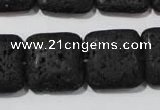 CLV495 15.5 inches 20*20mm square black lava beads wholesale
