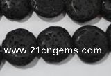CLV498 15.5 inches 16mm flat round black lava beads wholesale