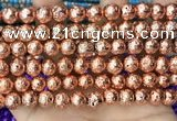 CLV552 15.5 inches 10mm round plated lava beads wholesale