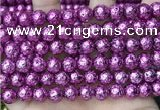 CLV558 15.5 inches 10mm round plated lava beads wholesale