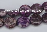 CMB30 15.5 inches 14mm flat round dyed natural medical stone beads