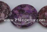 CMB33 15.5 inches 30mm flat round dyed natural medical stone beads