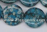 CMB44 15.5 inches 25mm flat round dyed natural medical stone beads