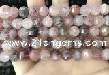 CME252 15.5 inches 7*9mm - 8*10mm pumpkin strawberry quartz beads