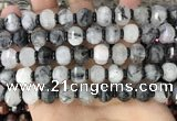 CME302 15.5 inches 8*11mm - 9*12mm pumpkin black rutilated quartz beads