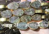 CME512 12 inches 18*28mm - 20*30mm flat teardrop bronze green stone beads
