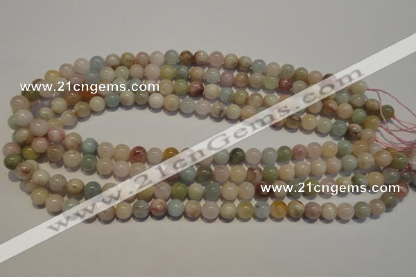 CMG03 15.5 inches 8mm round AB grade natural morganite beads