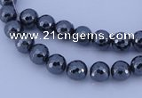 CMH02 16 inches 4mm faceted round magnetic hematite beads