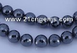 CMH04 16 inches 8mm faceted round magnetic hematite beads
