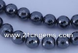 CMH05 16 inches 10mm faceted round magnetic hematite beads