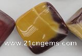 CMK108 15.5 inches 30*30mm twisted diamond mookaite beads wholesale