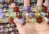 CMQ555 15.5 inches 14mm faceted round colorfull quartz beads