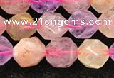 CMQ566 15.5 inches 8mm faceted nuggets mixed quartz beads