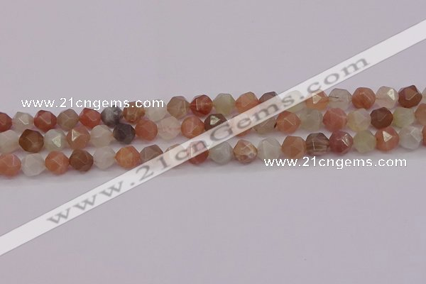 CMS1137 15.5 inches 8mm faceted nuggets rainbow moonstone beads