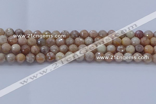 CMS1302 15.5 inches 8mm faceted round AB-color moonstone beads