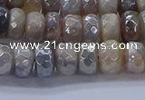 CMS1332 15.5 inches 5*8mm faceted rondelle AB-color grey moonstone beads