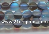 CMS1567 15.5 inches 8mm round matte synthetic moonstone beads