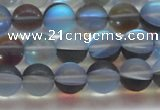CMS1568 15.5 inches 10mm round matte synthetic moonstone beads