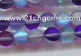 CMS1577 15.5 inches 8mm round matte synthetic moonstone beads