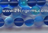 CMS1588 15.5 inches 10mm round matte synthetic moonstone beads