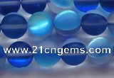 CMS1589 15.5 inches 12mm round matte synthetic moonstone beads