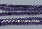 CNA250 15.5 inches 4mm faceted round natural amethyst beads