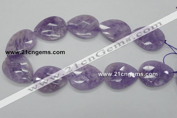 CNA338 30*40mm faceted teardrop natural lavender amethyst beads