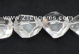 CNC18 20*22mm faceted nugget grade AB natural white crystal beads