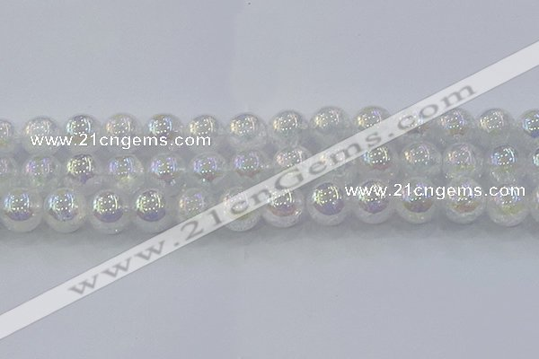 CNC566 15.5 inches 16mm round plated crackle white crystal beads