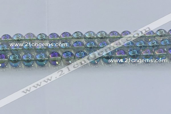 CNC586 15.5 inches 14mm round plated natural white crystal beads