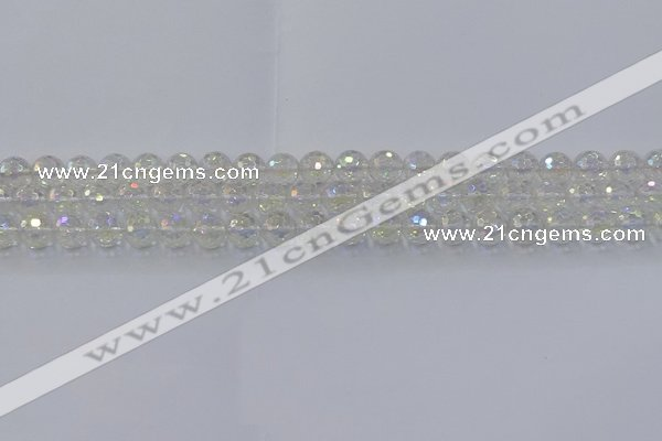 CNC600 15.5 inches 4mm faceted round plated natural white crystal beads