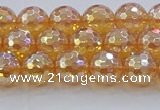CNC615 15.5 inches 8mm faceted round plated natural white crystal beads