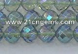 CNC628 15.5 inches 8mm faceted round plated natural white crystal beads