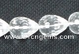 CNC63 15*20mm faceted teardrop grade A natural white crystal beads