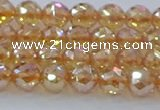 CNC651 15.5 inches 6mm faceted round plated natural white crystal beads