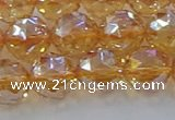 CNC654 15.5 inches 12mm faceted round plated natural white crystal beads
