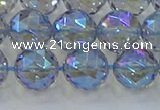 CNC660 15.5 inches 12mm faceted round plated natural white crystal beads