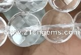CNC746 15.5 inches 12mm faceted coin white crystal beads