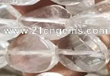 CNC819 15.5 inches 10*14mm twisted & faceted oval white crystal beads