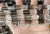 CNC830 10*14mm faceted rectangle white crystal & smoky quartz beads